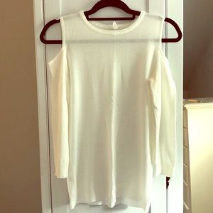 White Sweater with Shoulder Cut-outs